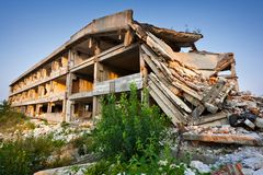 After a natural disaster - ruined buildings Royalty Free Stock Photography