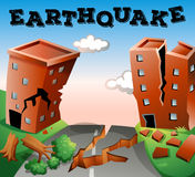 Natural disaster scene of earthquake Royalty Free Stock Images