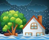Natural disaster scene of flooding. Illustration Royalty Free Stock Image