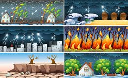 Natural disaster scenes. Six different natural disaster scenes vector illustration