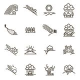 Natural Disaster Signs Black Thin Line Icon Set. Vector. Natural Disaster Signs Black Thin Line Icon Set Include of Earthquake, Fire, Hurricane, Storm, Volcano Royalty Free Stock Image