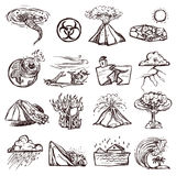 Natural Disaster Sketch Icon Set. Natural disasters earthquake tsunami volcanic tornado and other cataclysm doodle sketch hand drawn isolated vector illustration Stock Photo