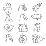 Natural disaster vector icons Stock Photos