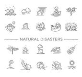 Natural Disaster, Vector illustration of thin line icons Stock Image