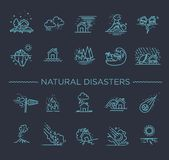 Natural Disaster, Vector illustration of thin line icons Royalty Free Stock Image
