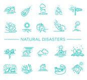 Natural Disaster, Vector illustration of thin line icons Stock Photography
