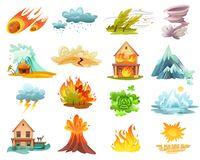 Natural Disasters Cartoon Icons Set. Natural disasters cartoon set of  icons with fires, tsunami, flood, volcano eruption, ice melting isolated vector Stock Images