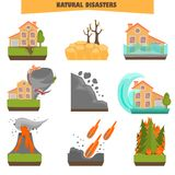Natural disasters color flat set. Vector illustrations Stock Photos