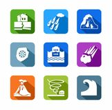 Natural disasters, colored, flat icons. Stock Photo