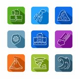 Natural disasters, contour icons, colored. Stock Images