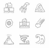 Natural disasters, contour icons, monochrome. Stock Photos