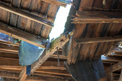 Natural disasters Damage to the roof chair Royalty Free Stock Photography