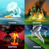 Natural Disasters Design Concept. With tsunami volcano eruption with lava and ash wildfire tornado  vector illustration Stock Photo