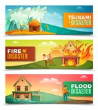 Natural Disasters Horizontal Banners. Natural disasters set of horizontal banners with tsunami, burning house, rescue during flood isolated vector illustration Stock Image