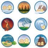 Natural disasters' icons Stock Images