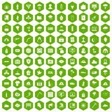 100 natural disasters icons hexagon green. 100 natural disasters icons set in green hexagon isolated vector illustration Royalty Free Stock Photo