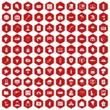 100 natural disasters icons hexagon red. 100 natural disasters icons set in red hexagon isolated vector illustration vector illustration