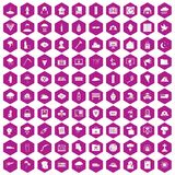 100 natural disasters icons hexagon violet. 100 natural disasters icons set in violet hexagon isolated vector illustration vector illustration