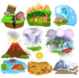 Natural Disasters icons like earthquake, tsunami, hurricane, avalanche, drought, tornado Royalty Free Stock Photos