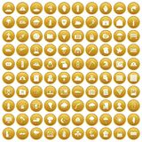 100 natural disasters icons set gold. 100 natural disasters icons set in gold circle isolated on white vector illustration Stock Illustration