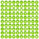 100 natural disasters icons set green. 100 natural disasters icons set in green circle isolated on white vectr illustration Stock Illustration