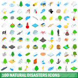 100 natural disasters icons set, isometric style Stock Photos