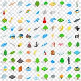 100 natural disasters icons set, isometric style Royalty Free Stock Image