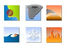Natural disasters icons vector. Vector illustrations as icons of most common natural disasters, as earthquake, tornado or hurricane, volcano eruption, tsunami or Royalty Free Stock Images