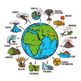 Natural Disasters Infographics. Set with sketch globe and catastrophe symbols vector illustration Stock Image