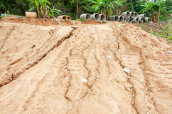 Natural disasters, landslides during in the rainy season Stock Images