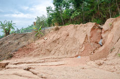 Natural disasters, landslides during in the rainy season Royalty Free Stock Image