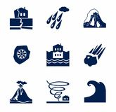 Natural disasters, monochrome icons. Royalty Free Stock Photo