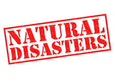 NATURAL DISASTERS. Red Rubber Stamp over a white background Royalty Free Stock Photography