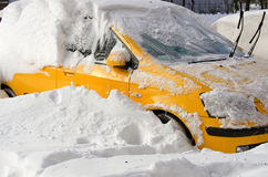 Natural disasters, snow storm with heavy snow paralyzed the city. Kolaps. Snow covered the cyclone Europe Royalty Free Stock Photo