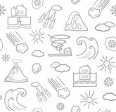 Natural disasters and weather conditions, seamless white background. Stock Images