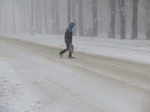 Natural disasters winter, blizzard, heavy snow paralyzed the city, collapse. Snow covered the cyclone Europe Stock Photos