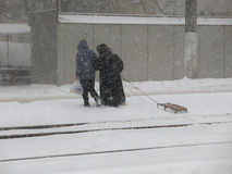 Natural disasters winter, blizzard, heavy snow paralyzed the city, collapse. Snow covered the cyclone Europe Stock Photography