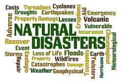 Natural Disasters. Word cloud on white background Royalty Free Stock Photos