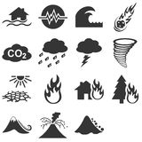 Natural disaters icon set. With 15 vector symbols Royalty Free Stock Photo