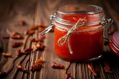 Natural diy chilli sauce sriracha Stock Photo