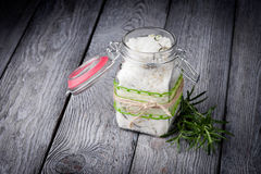 Natural diy crystal bath salt. Handmade DIY natural crystal bath salt with seasalt, baking soda, lavender, rosemary anf grapefruit oil Royalty Free Stock Photos