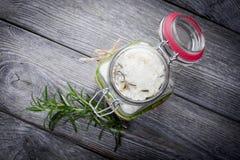 Natural diy crystal bath salt. Handmade DIY natural crystal bath salt with seasalt, baking soda, lavender, rosemary anf grapefruit oil Royalty Free Stock Image