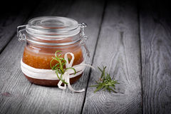 Natural diy ginger sugar and salt body scrub Stock Photo
