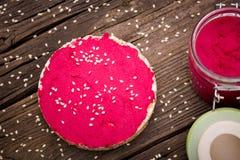 Natural diy homemade pink hummus Stock Images