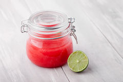 Natural diy lime sugar and salt body scrub Stock Image