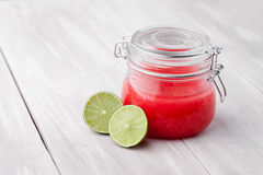 Natural diy lime sugar and salt body scrub Royalty Free Stock Images