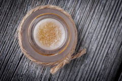 Natural diy sugar, honey and coconut oil lip scrub Stock Photos