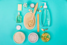 Natural domestic products for skincare. Oat, oil, soap, facial cleanser. Royalty Free Stock Photo