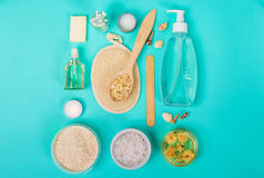 Natural domestic products for skincare. Oat, oil, soap, facial cleanser. Natural domestic products for skincare on a blue background. Oat, oil, soap, facial Stock Photo