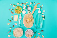 Natural domestic products for skincare. Oat, oil, soap, facial cleanser. Natural domestic products for skincare on a blue background. Oat, oil, soap, facial Royalty Free Stock Photo